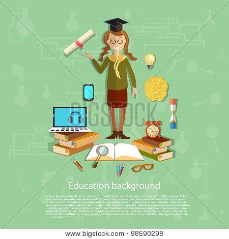 Education, Schoolgirl Exam, Graduation Cup, Diploma, Online Education, Back To School Concept