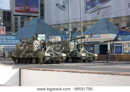 Msta-s Self-propelled Howitzer On Parade Of Victory Day On May 9, 2010 In Moscow