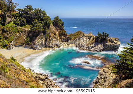 Beach and Falls, California