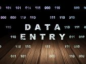 Data concept: Glowing text Data Entry in grunge dark room with Wooden Floor, black background with Binary Code, 3d render poster