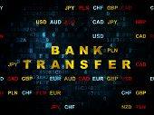 Money concept: Pixelated yellow text Bank Transfer on Digital wall background with Currency, 3d render poster