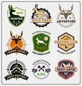 Set of hunting and adventure badge logo design for emblem logo label design insignia sticker Vector illustration resize able and all types use free font poster