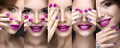 Beautiful girl with a bright evening make-up and pink manicure with rhinestones. Nail design. Beauty face. Picture taken in the studio on a black background. poster