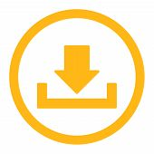 Download raster icon. This rounded flat symbol is drawn with yellow color on a white background. poster