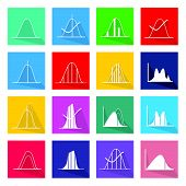 Flat Icons Illustration Set of 16 Gaussian Bell or Normal Distribution Curve Icon Labels.. poster