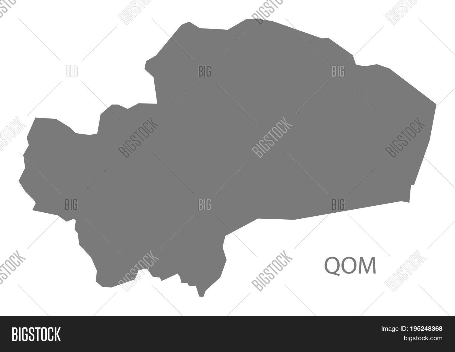 qom iran region map grey illustration silhouette shape