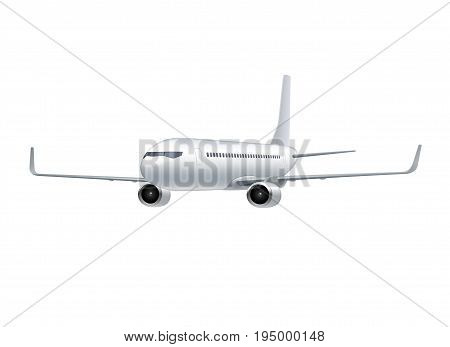 Flying airplane, jet aircraft, airliner. 3d perspective view of detailed realistic passenger air plane isolated on white background. Vector illustration
