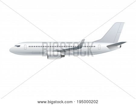 Flying airplane, jet aircraft, airliner. Side view of detailed passenger air plane isolated on white background. Vector illustration