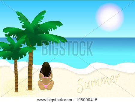 Beach with palm trees, girl and lettering summer on the sand. Tropical beach. Sandy beach under the bright sun. Vector background. Vector illustration beach, waves and palms.