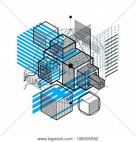 Vector background with abstract isometric lines and figures. Template made with cubes hexagons squares rectangles and different abstract elements.