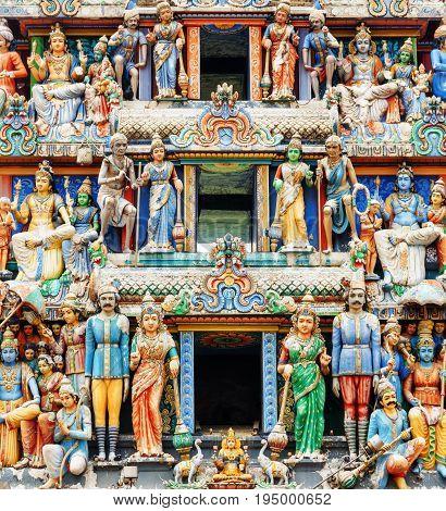 Close-up View Of The Gopuram Of Sri Mariamman Temple, Singapore