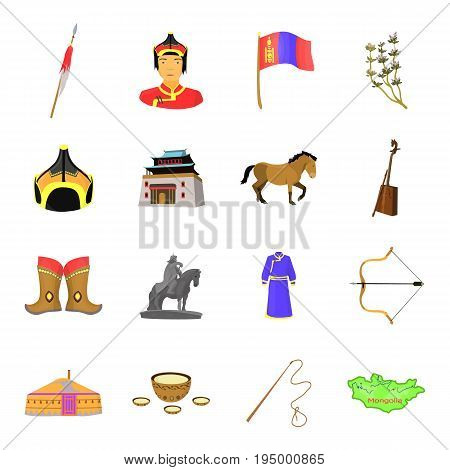 Genghis Khan, a monastery, Yurt and other sights of Mongolia. Mongolia set collection icons in cartoon style vector symbol stock illustration .