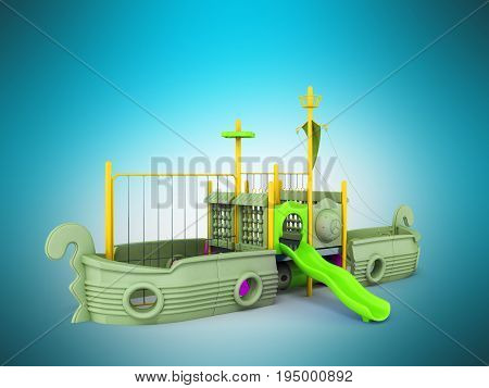 Playground For Children Ship Yellow Lime Violet 3D Render On Blue Background