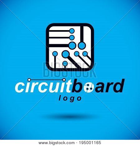 Futuristic cybernetic scheme vector motherboard. Digital element square circuit board. Electronic microprocessor logo.