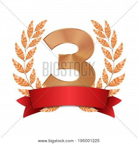 3rd Trophy Award Vector. Third Bronze Placement Achievement. Figure 3 Three In A Realistic Bronze Laurel Wreath. Red Ribbon. Isolated