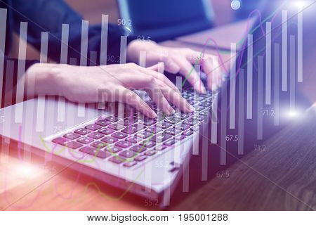 Double exposure stock financial on hand of businesswoman typing on laptop keyboard. Financial stock market economy analysis. Business people and Economy financial concept.