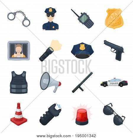 Police set icons in cartoon design. Big collection of police vector symbol stock illustration