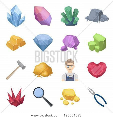 Precious minerals and jeweler set icons in cartoon design. Big collection of precious minerals and jeweler vector symbol stock illustration