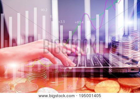 Double exposure stock financial on hand of businesswoman typing on laptop keyboard with coin stack. Financial stock market economy analysis. Business people and Economy financial concept.