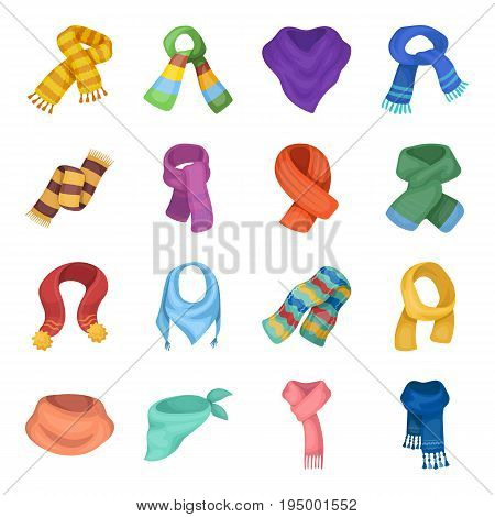 Wool, silk, polyester kinds of material for scarves and shawls.Scarves And Shawls set collection icons in cartoon style vector symbol stock illustration .