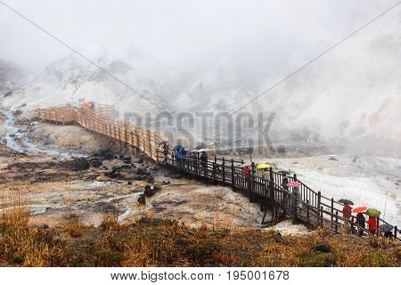 People Visit Jigokudani Hell Valley
