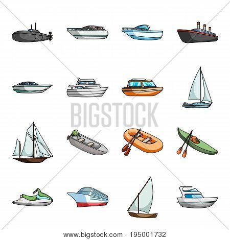 Yacht, boat, liner, types of ship and water transport. Ship and water transport set collection icons in cartoon style vector symbol stock illustration .
