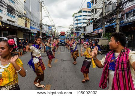 Traditional Dance At Candle Festival, Korat
