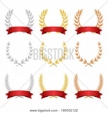Laurel Wreath Trophy Set Vector. Award Placement Achievement. Realistic Gold Silver Bronze Laurel Wreath. Red Ribbon. Winner Honor Prize. Isolated
