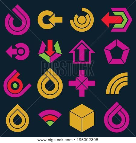 Flat vector abstract shapes different business icons and design elements collection. Geometric abstract arrows for use as navigation pictograms and app buttons.