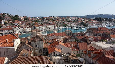 Trogir, Croatia - view of the city from the tower of the Cathedral of Sts. Lawrence