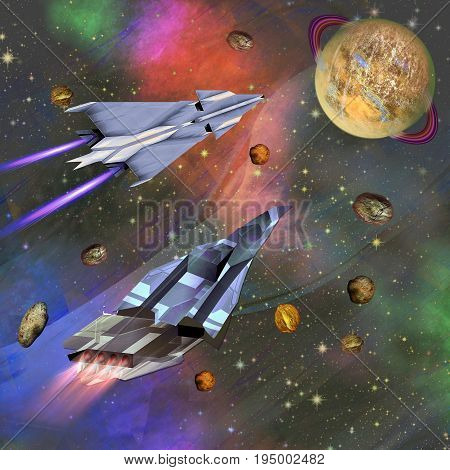 Two spaceships flying to an unknown planet. Universe with celestial body and swarm of meteorites. 3d illustration