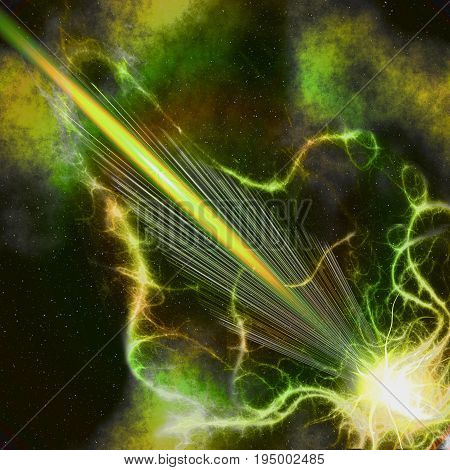 Abstract background resembling a supernova explosion in space. Green yellow orange and black burst with rays plasma and nebula