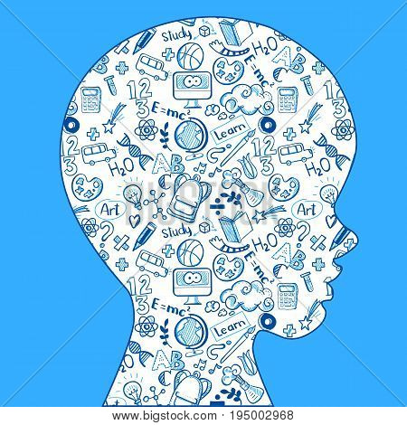 The concept of school learning. Vector illustartion. Creative background of the many doodle icons on the contour of schoolboy profile. Idea of educational information for banners, posters