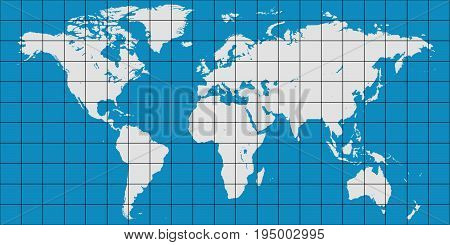 world map with coordinate grid and meridian and parallel, vector map of planet earth