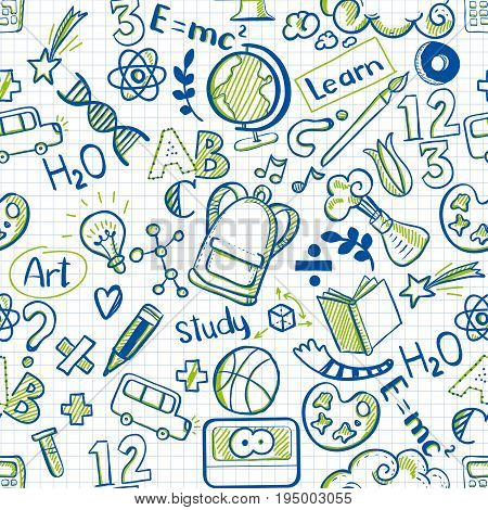 Back to school seamless vector pattern with skecth drawings on squared paper background. Good for textile fabric design, wrapping paper, banners, posters and educational website wallpapers. Vector illustration. Educational doodle drawings