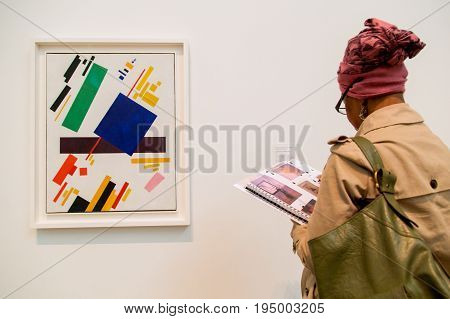 UK, London - 08 April 2015: Exposition in Tate Modern Gallery in London, UK. The gallery is located in the Bankside area of the London Borough of Southwark.