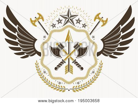 Vintage heraldry design template with bird wings vector emblem created with pentagonal stars and armory.