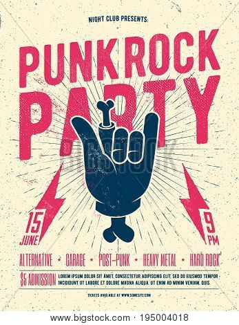 Punk Rock Party Flyer Poster. Vintage styled vector illustration. Party Poster