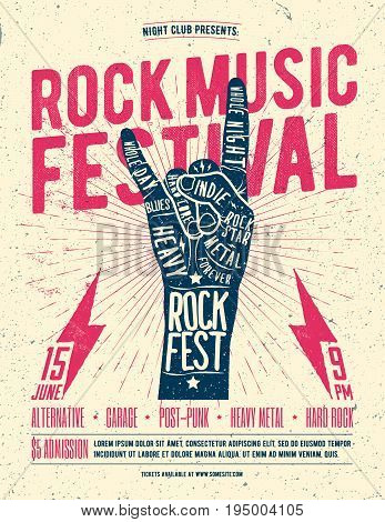 Rock Festival Flyer Poster. Vintage styled vector illustration. Party flyer