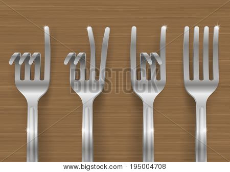 Set of metal forks bent in the form of gestures. Concept on a theme of meal