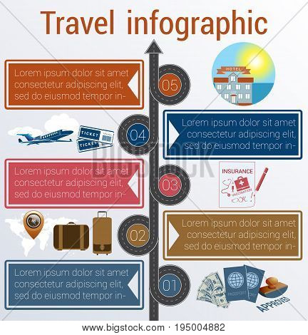 Tourism and travel concept infographic. Template 5 positions. Motorway passports visa stamp compass card point syringe medical set dollarssuitcase tickets jet hotel island palm sea sun sky