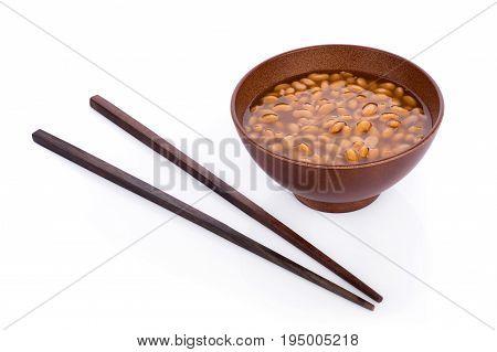 bowl of soy bean paste on white background