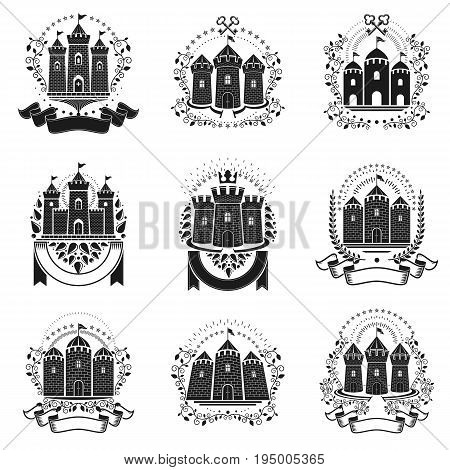 Ancient Bastions emblems set. Heraldic vector design elements collection. Retro style label heraldry logo.