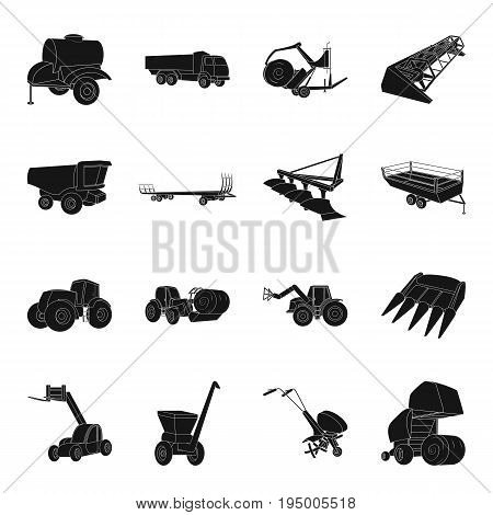 Trailer, dumper, tractor, loader and other equipment. Agricultural machinery set collection icons in black style vector symbol stock illustration .