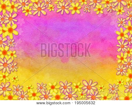 A watercolour page background with floral border decoration.