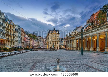 Square in Karlovy Vary city center Czech republic
