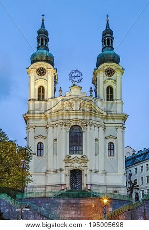 The Roman Catholic Cathedral of St. Mary Magdalene in baroque style in Karlovy Vary Czech republic