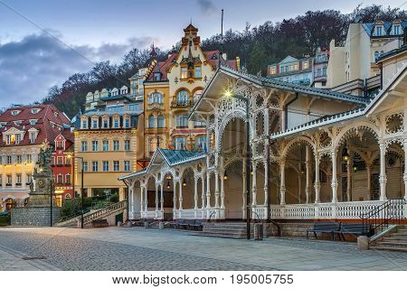 View of city centre of Karlovy Vary with Market ColonnadeCzech republic