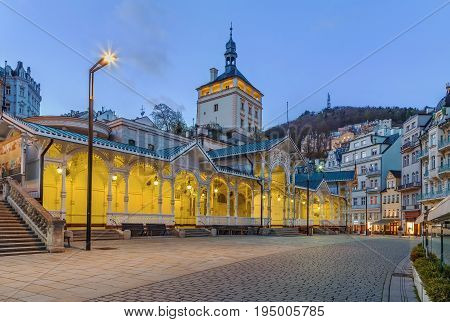 Market Colonnade and castle tower in the historical center of Karlovy Vary Czech republic