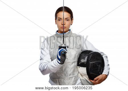 Woman Fencer Holding The Sword In Front Of Her